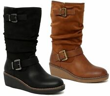 Womens Mid Calf Boots Faux Leather Suede Ladies Rouched Slouch Low Heel Wedge Sh