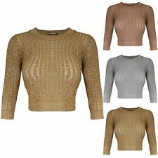Womens Ladies 3/4 Sleeve Metallic Lurex T-Shirt Cable Jumper Stretch Cropped Top