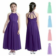 New Princess Chiffon Wedding Gown Bridesmaid Girl Dress Prom Party Kids Clothes