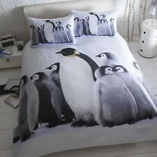 Penguins Animal Photograph Print Duvet Cover Quilt Cotton Blend Bedding Set