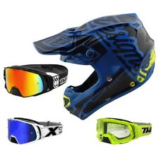 Troy Lee Design SE4 Factory MIPS Crosshelm Motocross blau TWO-X Rocket MX Brille