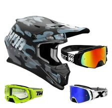 Thor Sector Covert Casco da Cross Motocross Nero Blu Two-X Rocket Maschere Mx