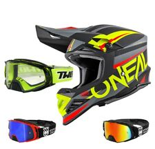 Oneal 8Series Aggressor Casco da Cross Nero Giallo Fluo Two-X Rocket Mx Occhiali
