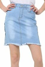 Ladies Womens Denim Zip Up Ripped Faded High Waisted Raw Edge Jeans Mini Skirt
