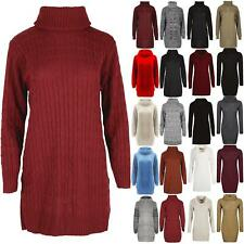 Womens Cowl Neck Ladies Jumper Top Baggy Cable Knit Oversized Sweater Mini Dress