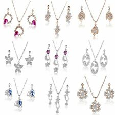 Charm Gold Plated Flower Butterfly Pendant Pearl Crystal Necklace Earrings Set