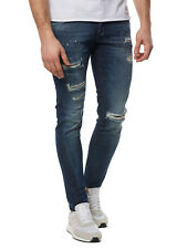 Nuovo Tigha Pantaloni Uomo Jeans Destroyed Billy The Kid 102166 Denim Blu Uomo