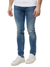 Nuovo Tigha Jeans Uomo Jeans Skinny Super Slim Fit Morten 100332/518 Blu