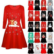 Children Kids Christmas Girls Xmas Reindeer Wall Snowman Flared Swing Mini Dress