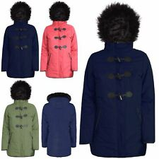 Ladies Womens Fur Padded Hooded Duffle Toggle Zip Up Quilted Coat Parka Jacket