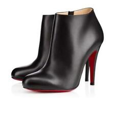 Christian Louboutin BELLE 100  Leather Ankle Boots Bootie Heels Black $895