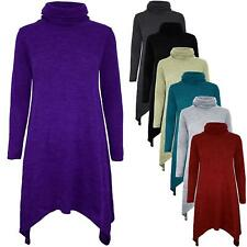 Womens Ladies Knit Hanky Hem Cowl High Polo Neck Baggy Fit Long Sleeve Dress Top