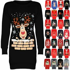 Womens Fleece Xmas Bells Ladies Snowman Tree Christmas Sweatshirt Jumper Dress