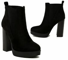 Womens Ladies Chunky Block High Heel Shoes Platform Ankle Chelsea Boots Shoes 3