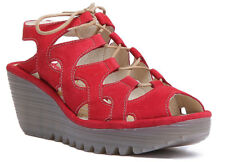 Fly London Yexa916 Women Leather Red Ankle Strap Wedge Sandals