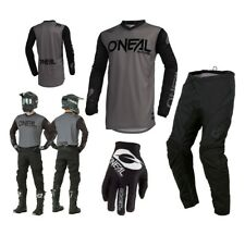 Oneal Threat Rider Combo S19 Gris Enduro Pantalones Cross Mx Jersey Guantes