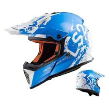 LS2 MX437 Casco Cross Rápido Spot Motocross Enduro Mx Casco Blanco Azul
