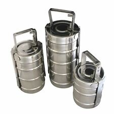 Stainless Steel Tiffin 3 or 2 Section 10cm Indian Lunch Box Curry Nan
