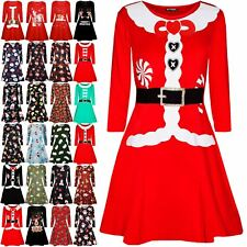 Kids Girls Long Sleeve Ribbon Candy Stick Children Xmas Flared Swing Mini Dress