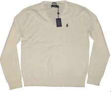 Polo Ralph Lauren Mens Slim Cashmere Knit Cream Navy Pony Logo V Neck Sweater L
