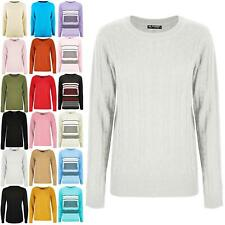 Womens Ladies Chunky Cable Knit Long Sleeve Sweater Stretchy Winter Warm Jumper
