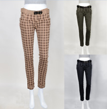 Fashion Casual Womens Slim All Over Solid Plaid Green Blue Brown Sports Pants