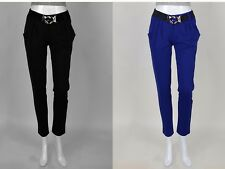 Casual Womens Slim All Over Solid Black Blue Sports Fashion Pants On Sale!