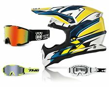 Acerbis Casco Cross Impact Amarillo Azul Hva Motocross Mx Enduro con Two-X Bomba