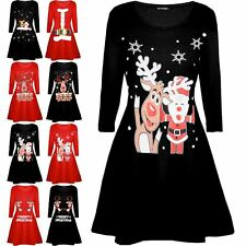 Children Kids Girls Xmas Reindeer Wall Snowman Flared Christmas Swing Mini Dress