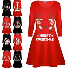 Children Kids Girls Xmas Reindeer Wall Snowman Flared Swing Christmas Mini Dress