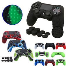 Case Skin Grip Cover +8pcs Thumbstick Caps For PlayStation 4 PS4 Controller Gift