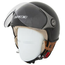 SPADA JET STREAM GLOSS BLACK OPEN FACE MOTORCYCLE HELMET