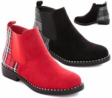 WOMENS LADIES LOW HEEL FLAT PULL ON CHELSEA STRETCH RIDING ANKLE SHOE BOOTS SIZE