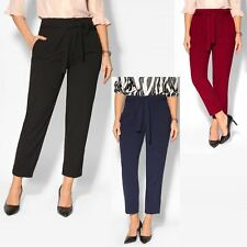 Women High Waist Tapered Pencil Paperbag Ladies Trousers Cigarette Pants Size