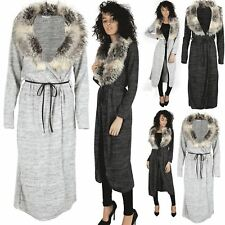 Ladies Womens Long Sleeve Belted Open Front Knit Faux Fur Duster Cape Cardigan