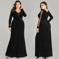 Ever-Pretty Plus Size Long Black Mermaid Evening Gowns Formal Cocktail Dresses