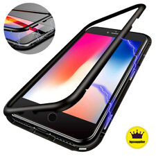 Magnetic Adsorption Metal Bumper Case for iPhone X 7 8 Plus Tempered Glass Cover