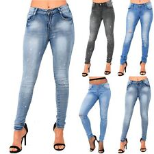 Ladies Womens Destroyed Rip Faded Paint Splashed Skinny Fit Distress Denim Jeans