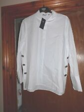 LADIES MARKS AND SPENCERS WHITE BLOUSE/SHIRT LOOSE FIT WITH SILVER BUTTONS ON