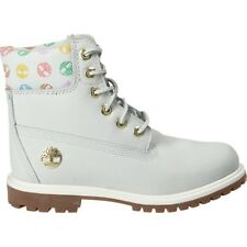 """Timberland Womens 6"""" Inch Premium Hiking Boots Leather White Grey Pink TB0A1QOG"""