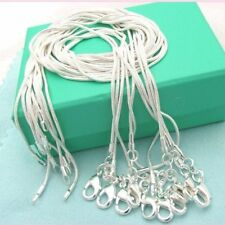 10PCS Wholesale Solid Silver 1MM Snake Chain Necklace For Pendant Women Jewelry
