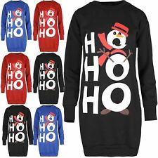 Womens Ladies Christmas HoHoHo Snowman Sweatshirt Oversized Pullover Baggy Dress