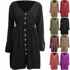 Womens Ladies V Neck Animal Prints Leopard Snake Front Button Down Belted Dress