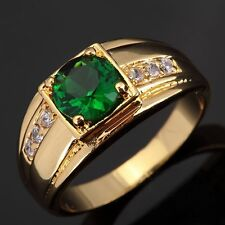 Size 8-11 Womans Mans Gold Filled Green Emerald Engagement Wedding Ring