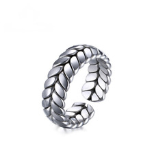 Fashion Mans Womans Size 6-8 Wheat Design Stainless Steel Open Rings Gift