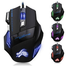 5500DPI LED Optical USB Wired Gaming Mouse 7Buttons Gamer Laptop Computer Mic Pr