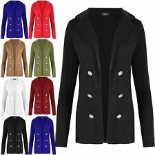 Womens Ladies Military Button Collared Open Blazer Long Sleeve Waistcoat Jacket