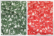 Christmas Polycotton Fabric (P871-Red-M)