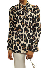 JOHN ZACK ANIMAL   LEOPARD PRINT   V  NECK PUSSY BOW BLOUSE