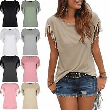 New Womens Ladies Fringe Summer Loose Top Short Sleeve Blouse Casual Top T Shirt